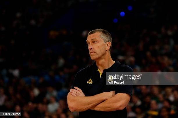 Andrej Lemanis, head coach of the Boomers looks on during the International Basketball Friendly match between Australian Boomers and Canada at RAC...