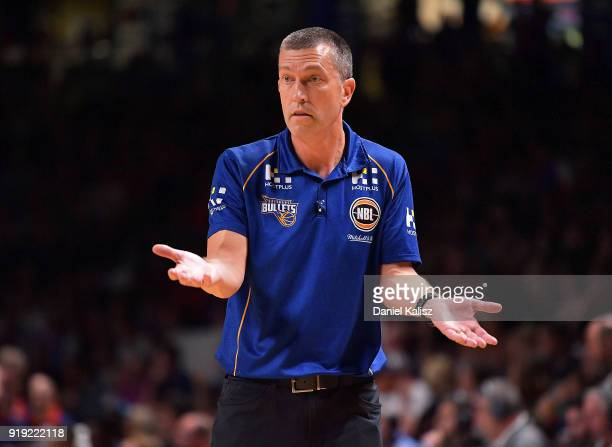 Andrej Lemanis head coach of the Brisbane Bullets reacts during the round 19 NBL match between the Adelaide 36ers and the Brisbane Bullets at...