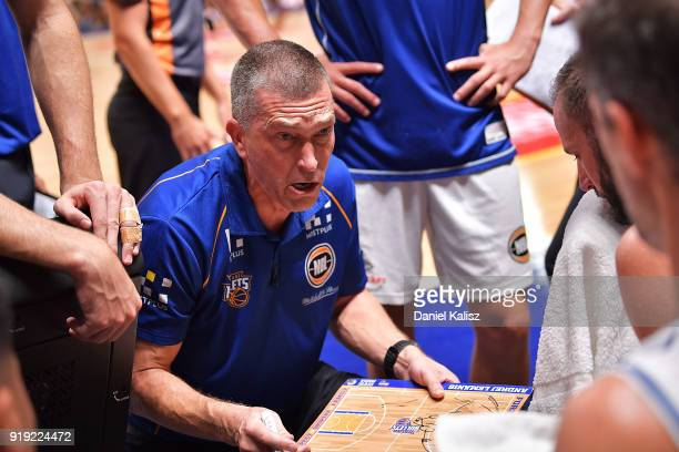 Andrej Lemanis head coach of the Brisbane Bullets speaks with his players during the round 19 NBL match between the Adelaide 36ers and the Brisbane...