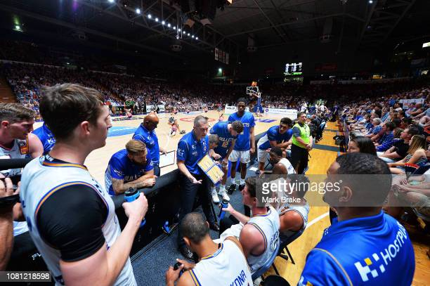 Andrej Lemanis head coach of the Bullets and team during a time out during the round 13 NBL match between Adelaide 36ers and the Brisbane Bullets at...