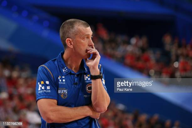 Andrej Lemanis head coach of the Bullets looks on during game one of the NBL Semi Final series between the Perth Wildcats and the Brisbane Bullets at...
