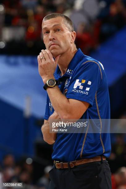 Andrej Lemanis head coach of the Bullets looks on during the round two NBL game between Perth and Brisbane at Perth Arena on October 20 2018 in Perth...