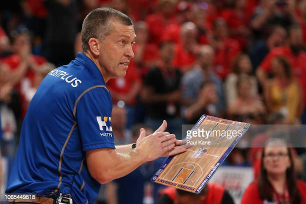 Andrej Lemanis head coach of the Bullets looks on during the round five NBL match between the Perth Wildcats and the Brisbane Bullets at RAC Arena on...