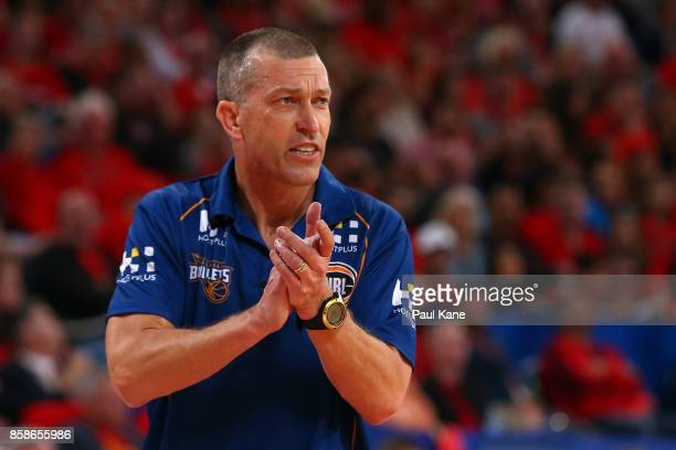 Andrej Lemanis head coach of the Bullets looks on during the round one NBL match between the Perth Wildcats and the Brisbane Bullets at Perth Arena...