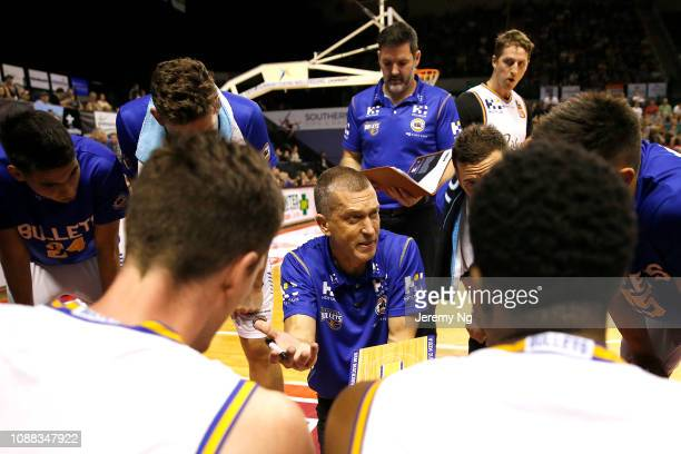 Andrej Lemanis of the Bullet speaks to his team during the round 11 NBL match between the Illawarra Hawks and the Brisbane Bullets at Wollongong...