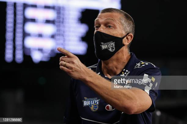 Andrej Lemanis of the Bullets gives orders during the NBL Cup match between the South East Melbourne Phoenix and the Brisbane Bullets at John Cain...