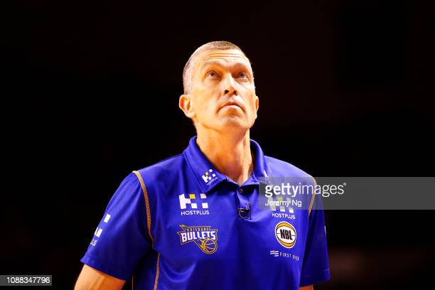 Andrej Lemanis of the Bullets looks on during the round 11 NBL match between the Illawarra Hawks and the Brisbane Bullets at Wollongong Entertainment...
