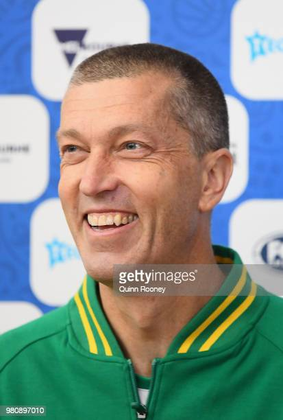 Andrej Lemanis the coach of the Boomers speaks to the media during an Australian Boomers training session at Melbourne Sports and Aquatic Centre on...