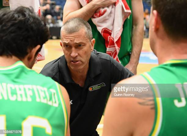 Andrej Lemanis the coach of the Boomers talks to his players during the FIBA World Cup Qualifier match between the Australian Boomers and Kazakhstan...