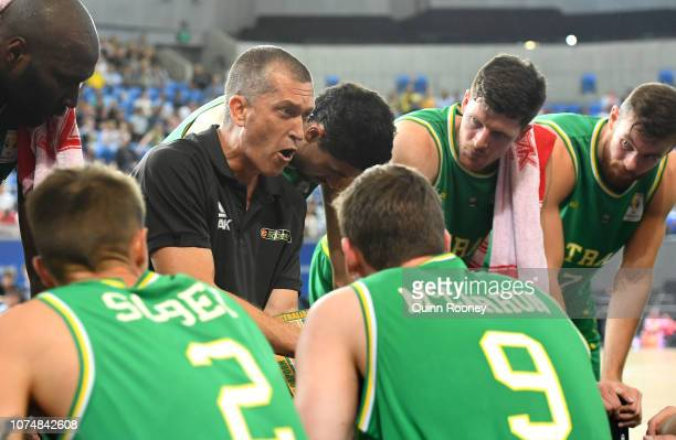 Andrej Lemanis the coach of the Boomers talks to his players during the FIBA World Cup Qualifier match between the Australian Boomers and Iran at...