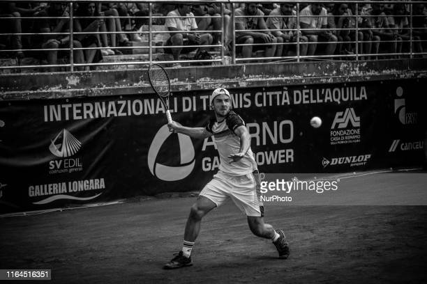Image was converted to black and white) Andrej Martin during the final match between Andrea Collarini and Andrej Martin the Internazionali di Tennis...