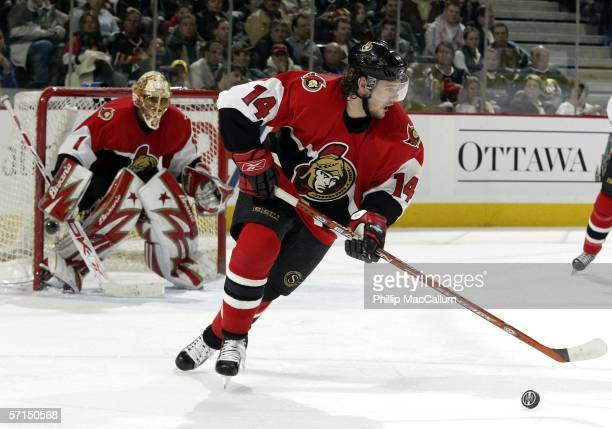 Andrej Meszaros of the Ottawa Senators picks up the pick and heads up ice against the Pittsburgh Penguins during second period action on March 21,...
