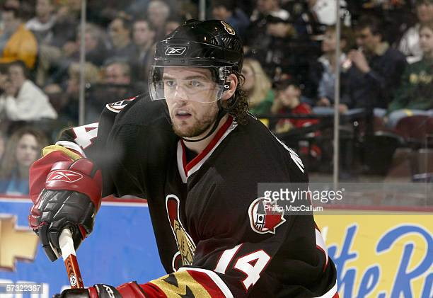 Andrej Meszaros of the Ottawa Senators skates during the game against the Washington Capitals on April 1, 2006 at the Scotiabank Place in Ottawa,...