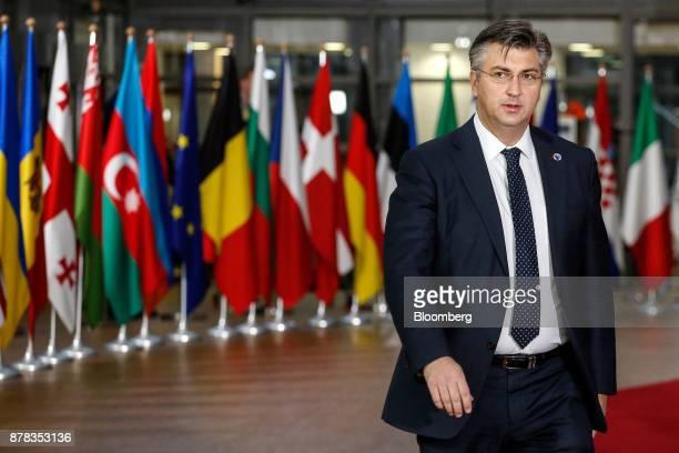 Andrej Plenkovic Croatia's prime minister arrives at the Eastern Partnership Summit inside the Europa building in Brussels Belgium on Friday Nov 24...