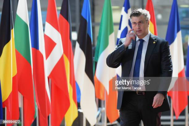 Andrej Plenkovic Prime Minister of Croatia arrives at at the EU Council Meeting at European Parliament on June 29 2018 in Brussels Belgium The...