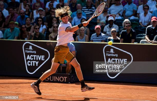 Andrej Rublew of Russia in action during the Hamburg Open 2019 at Rothenbaum on July 26 2019 in Hamburg Germany