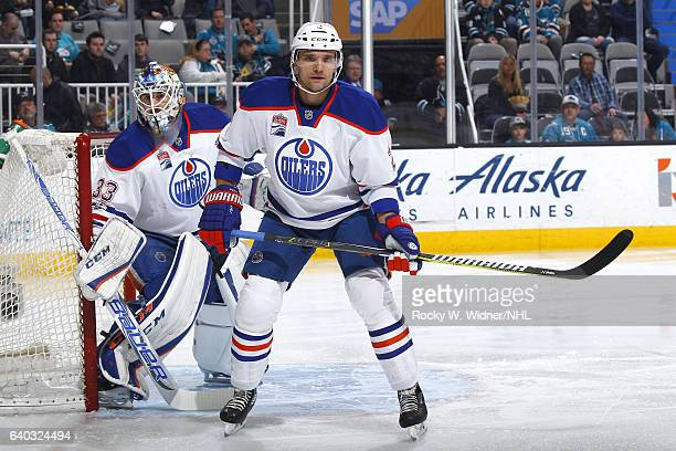 Andrej Sekera and Cam Talbot of the Edmonton Oilers defend the net against the San Jose Sharks at SAP Center on January 26 2017 in San Jose California