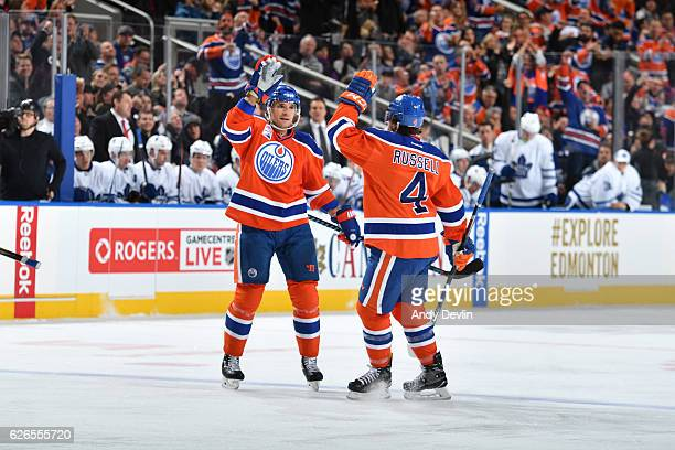 Andrej Sekera and Kris Russell of the Edmonton Oilers celebrate after a goal during the game against the Toronto Maple Leafs on November 29 2016 at...
