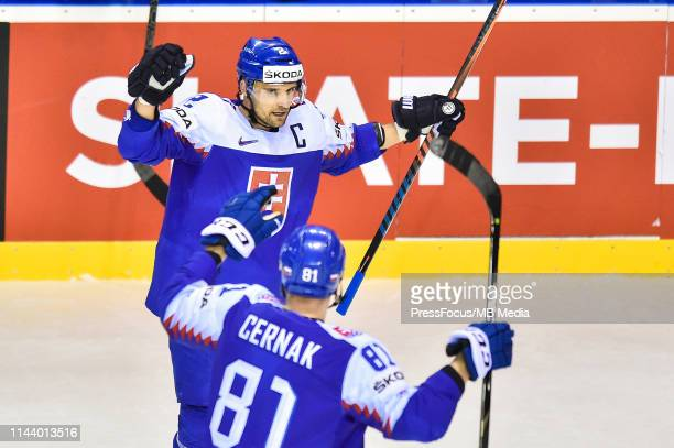 Andrej Sekera of Slovakia celebrates scoring a goal during the 2019 IIHF Ice Hockey World Championship Slovakia group A game between Germany and...