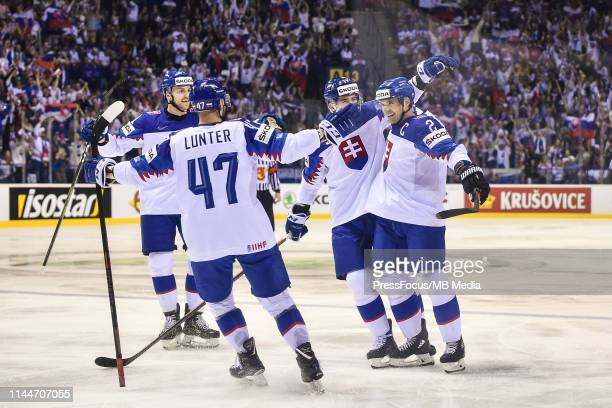 Andrej Sekera of Slovakia celebrates scoring a goal during the 2019 IIHF Ice Hockey World Championship Slovakia group A game between Great Britain...