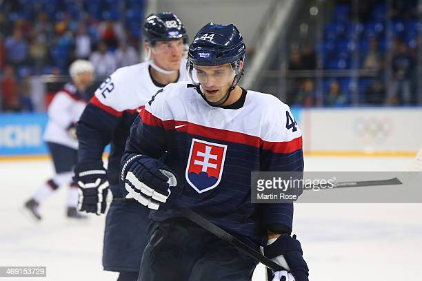 Andrej Sekera of Slovakia dejected after the 71 loss to the United States during the Men's Ice Hockey Preliminary Round Group A game on day six of...