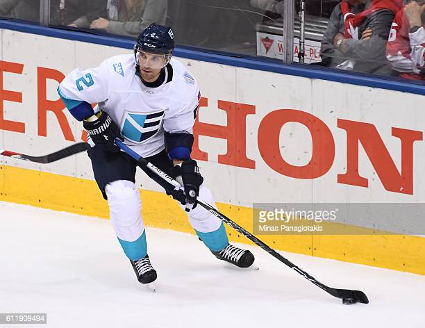 Andrej Sekera of Team Europe stickhandles the puck against Team Canada during Game One of the World Cup of Hockey final series at the Air Canada...