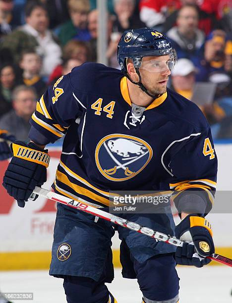 Andrej Sekera of the Buffalo Sabres skates against the Ottawa Senators on April 05 2013 at the First Niagara Center in Buffalo New York