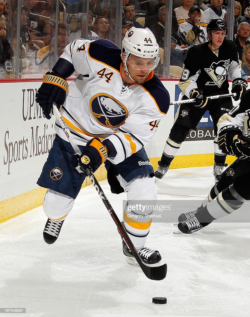 Andrej Sekera #44 of the Buffalo Sabres skates moves the puck against the Pittsburgh Penguins on April 23, 2013 at Consol Energy Center in Pittsburgh, Pennsylvania.