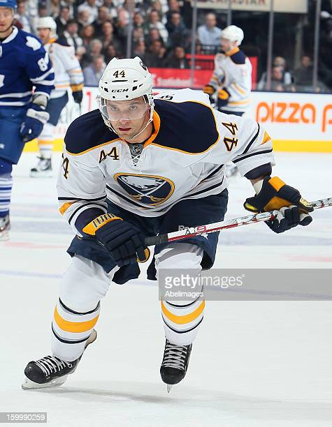 Andrej Sekera of the Buffalo Sabres skates up the ice during NHL action against the Toronto Maple Leafs at the Air Canada Centre January 21 2013 in...