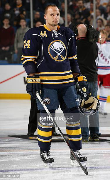 Andrej Sekera of the Buffalo Sabres stands during the anthems prior to the game against the New York Rangers at First Niagara Center on April 19 2013...