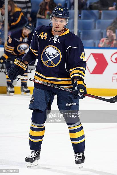 Andrej Sekera of the Buffalo Sabres warms up to play the New York Rangers at First Niagara Center on April 19 2013 in Buffalo United States