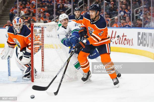 Andrej Sekera of the Edmonton Oilers battles against Nic Dowd of the Vancouver Canucks at Rogers Place on January 20 2018 in Edmonton Canada