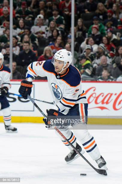 Andrej Sekera of the Edmonton Oilers controls the puck against the Minnesota Wild during the game on April 2 2018 at Xcel Energy Center in St Paul...