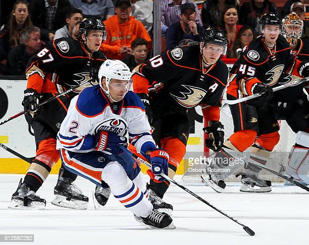 Andrej Sekera of the Edmonton Oilers handles the puck during the game against the Anaheim Ducks on February 26 2016 at Honda Center in Anaheim...