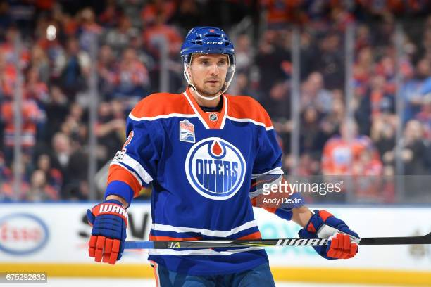 Andrej Sekera of the Edmonton Oilers lines up for a face off during the game against the Vancouver Canucks on April 9 2017 at Rogers Place in...