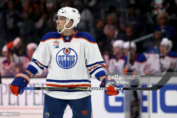 Andrej Sekera of the Edmonton Oilers looks on during the second period of a game against the Los Angeles Kings at Staples Center on April 4 2017 in...