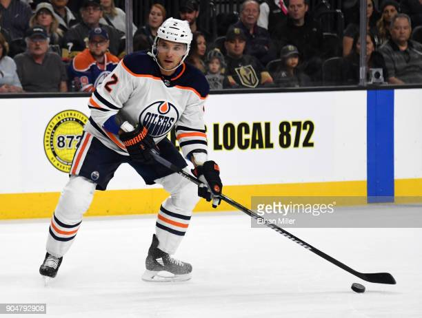 Andrej Sekera of the Edmonton Oilers looks to pass against the Vegas Golden Knights in the first period of their game at TMobile Arena on January 13...