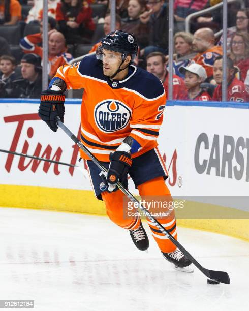 Andrej Sekera of the Edmonton Oilers skates against the Calgary Flames at Rogers Place on January 25 2018 in Edmonton Canada