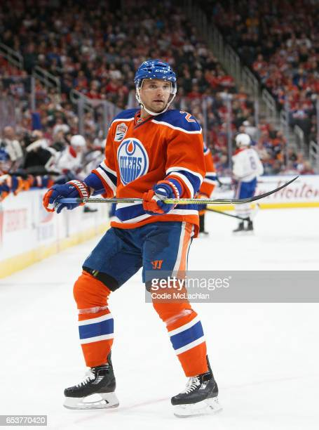 Andrej Sekera of the Edmonton Oilers skates against the Montreal Canadiens on March 12 2017 at Rogers Place in Edmonton Alberta Canada