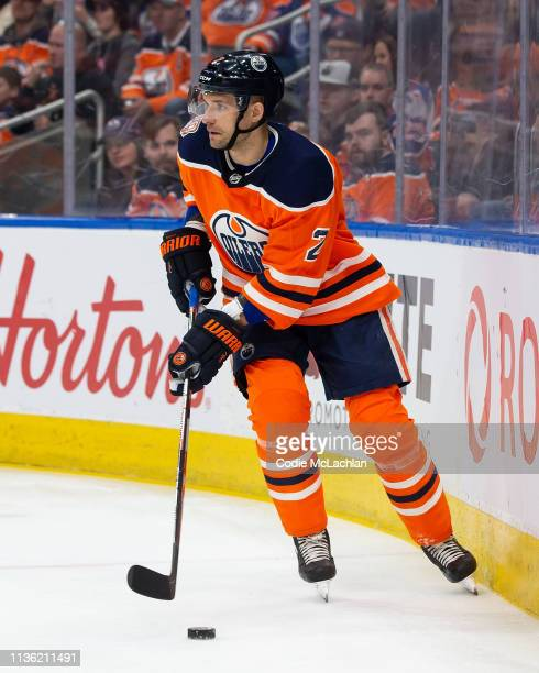 Andrej Sekera of the Edmonton Oilers skates against the New York Rangers at Rogers Place on March 11 2019 in Edmonton Alberta Canada