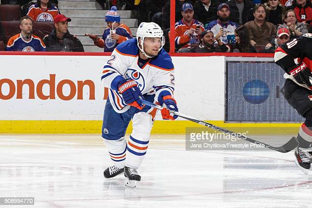 Andrej Sekera of the Edmonton Oilers skates against the Ottawa Senators during an NHL game at Canadian Tire Centre on February 4 2016 in Ottawa...
