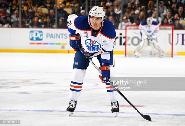 Andrej Sekera of the Edmonton Oilers skates against the Pittsburgh Penguins at PPG Paints Arena on November 8 2016 in Pittsburgh Pennsylvania