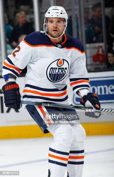 Andrej Sekera of the Edmonton Oilers skates against the San Jose Sharks at SAP Center on February 27 2018 in San Jose California