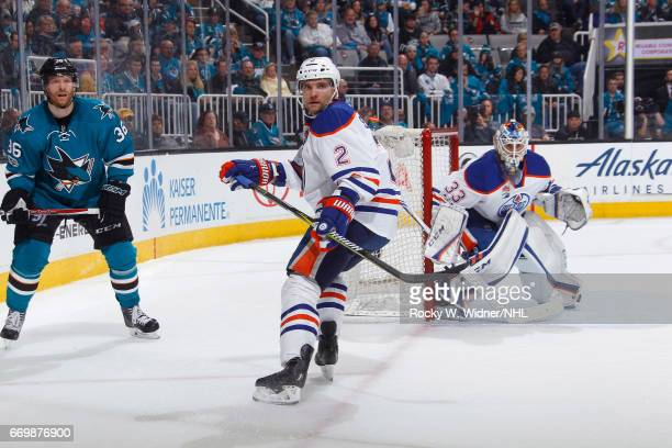 Andrej Sekera of the Edmonton Oilers skates against the San Jose Sharks in Game Three of the Western Conference First Round during the 2017 NHL...