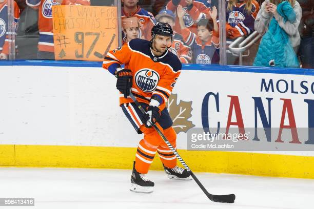 Andrej Sekera of the Edmonton Oilers skates against the St Louis Blues at Rogers Place on December 21 2017 in Edmonton Canada