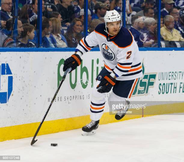 Andrej Sekera of the Edmonton Oilers skates against the Tampa Bay Lightning at Amalie Arena on March 18 2018 in Tampa Florida n
