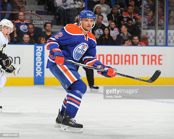 Andrej Sekera of the Edmonton Oilers skates during a game against the Pittsburgh Penguins on November 6 2015 at Rexall Place in Edmonton Alberta...