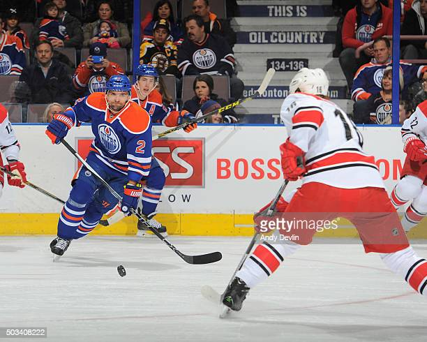 Andrej Sekera of the Edmonton Oilers skates during a game against the Carolina Hurricanes on January 4 2016 at Rexall Place in Edmonton Alberta Canada