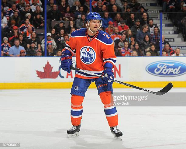 Andrej Sekera of the Edmonton Oilers skates during a game against the Calgary Flames on January 16 2016 at Rexall Place in Edmonton Alberta Canada