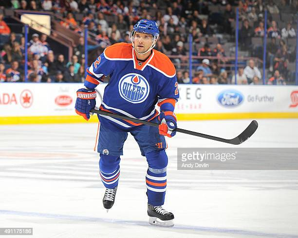Andrej Sekera of the Edmonton Oilers skates during a preseason game against the Arizona Coyotes on September 29 2015 at Rexall Place in Edmonton...